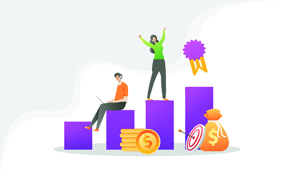 Business people standing on the growth bars heading towards the medal. Concept of growing business