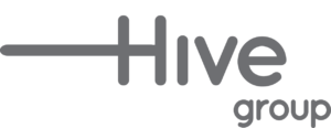 Hive Design Group's logo in grey and white