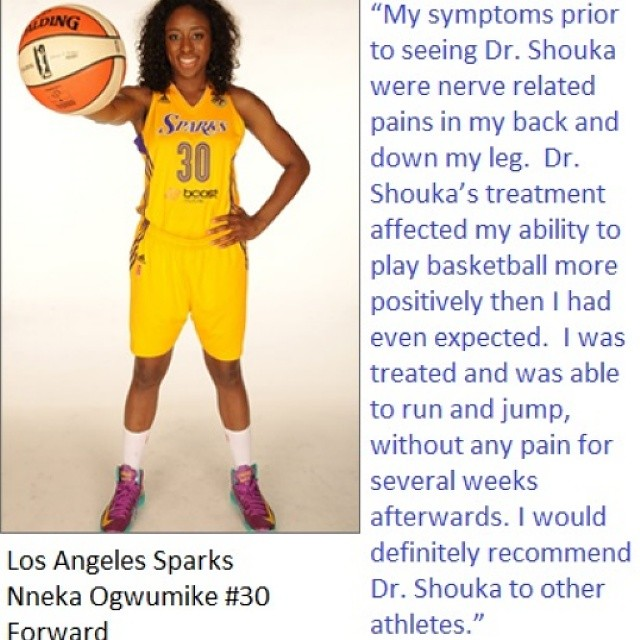 Professional Basketball Player and League MVP Nneka Ogwumike recognizes Dr. Shouka for his treatment.