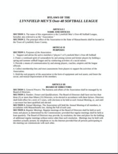Lynnfield Men's Over-40 Softball League Bylaws