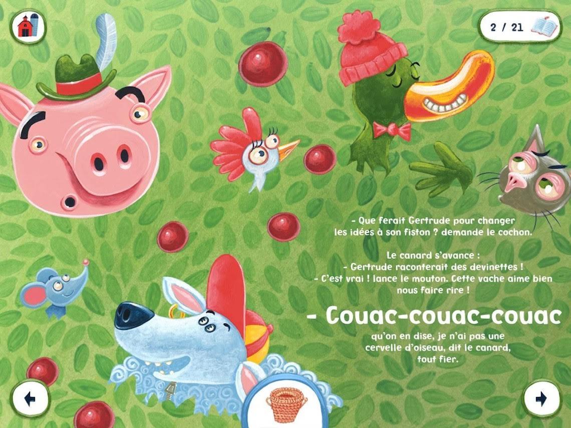Démonstration de l'application « Meuh où est Gertrude » (texte Benoit Dutrizac, illustrations Bellebrute) ©la boîte à pitons
