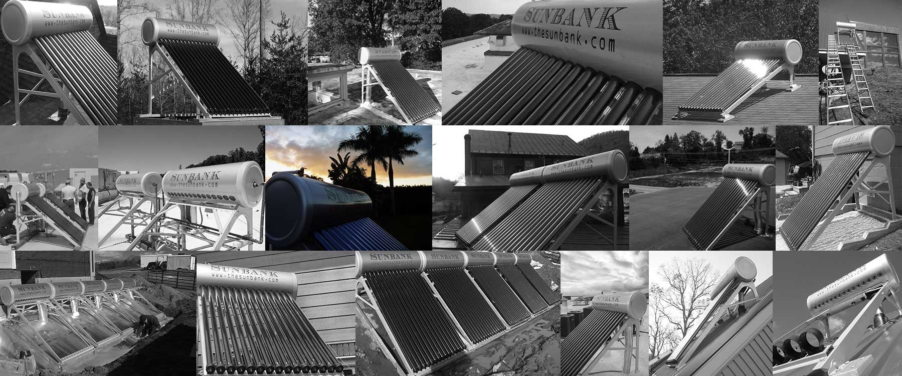 collage showing several residential and commercial solar water heater installations