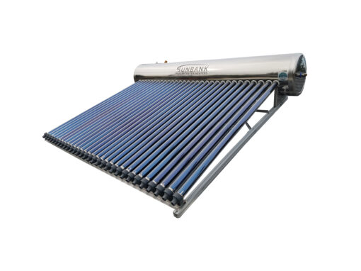 Photo of a Sunbank 80 gallon solar water heater with evacuated tube collectors and an integrated stainless steel tank