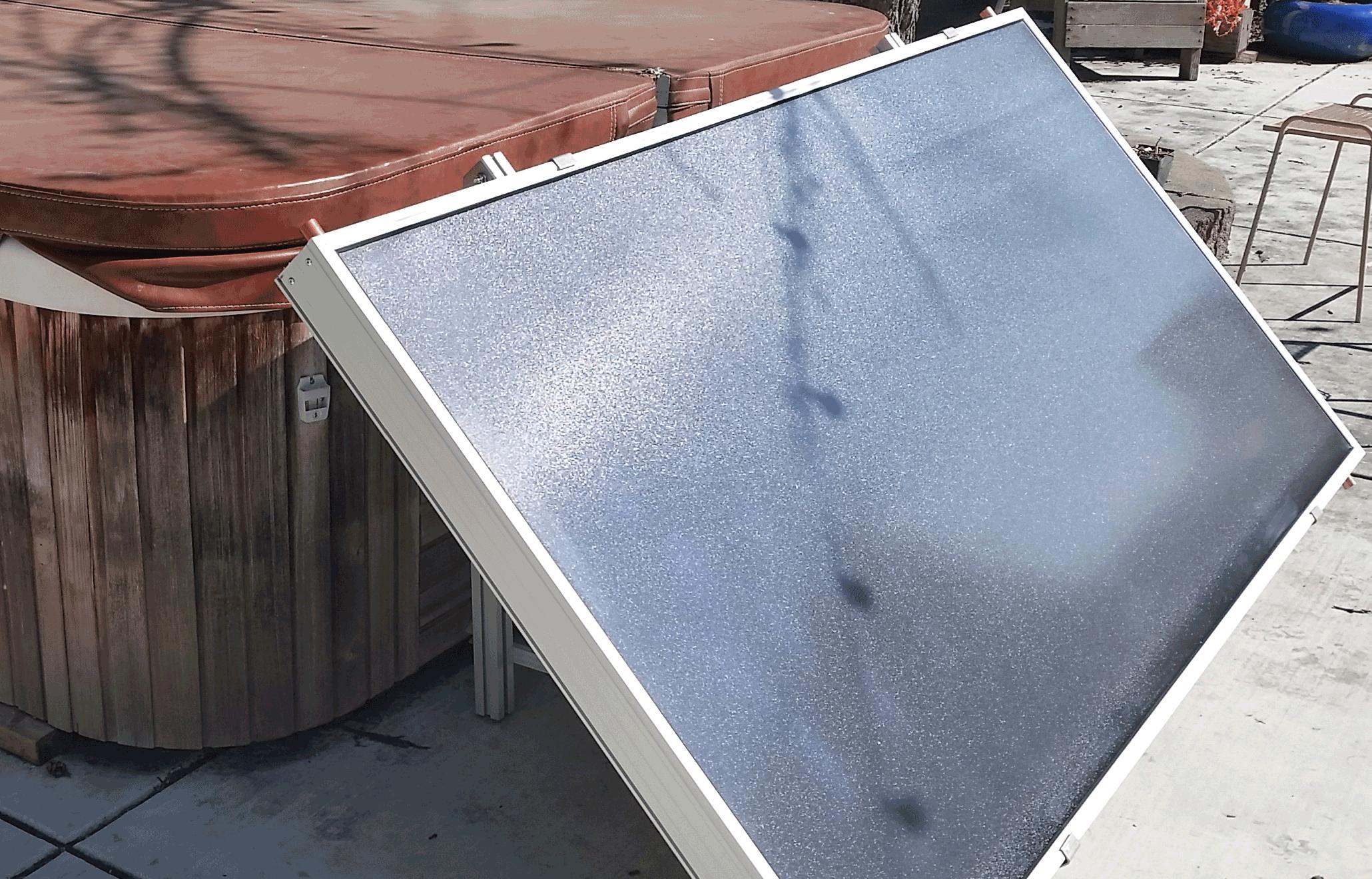 Installed solar hot tub kit