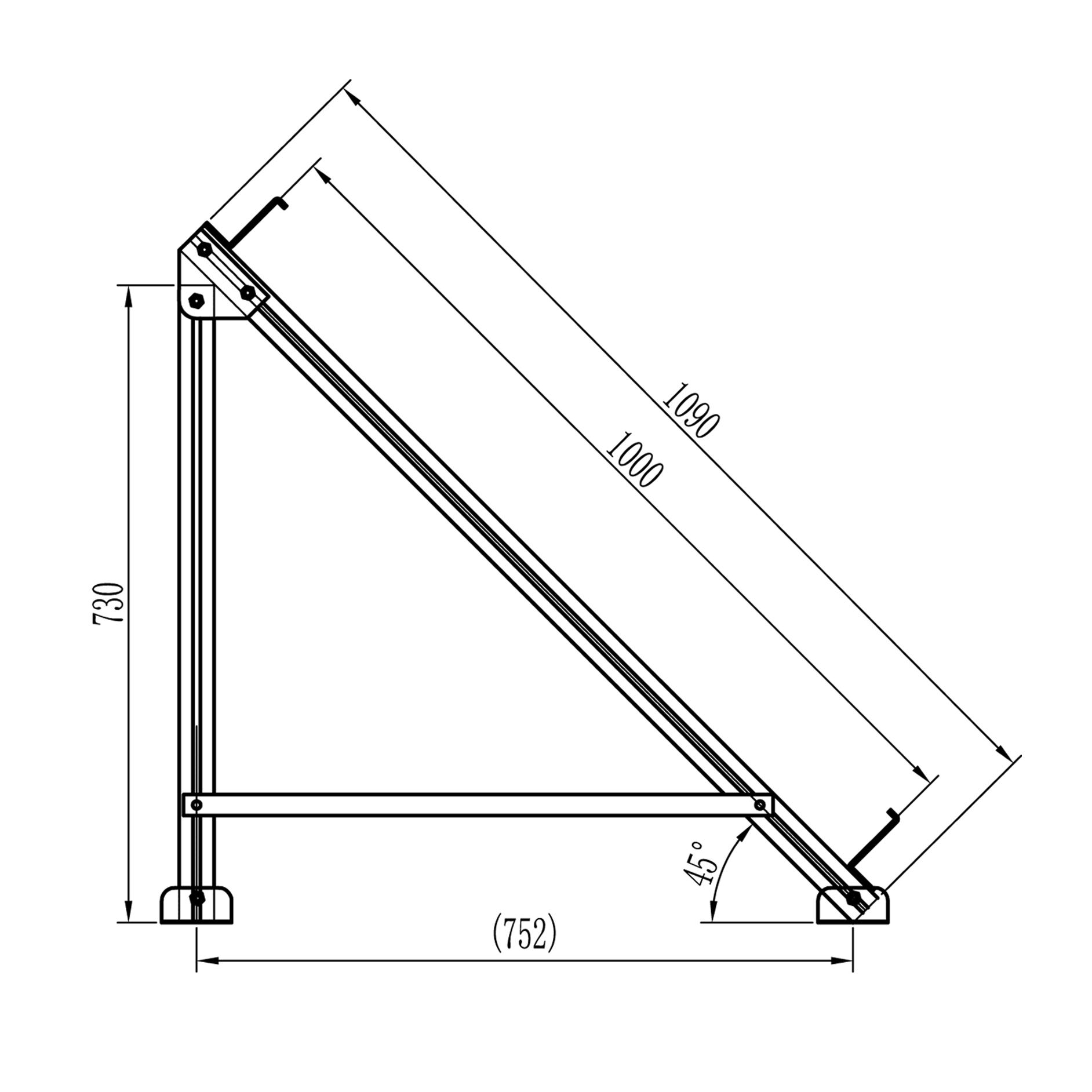 45 deg frame for flat plate collector