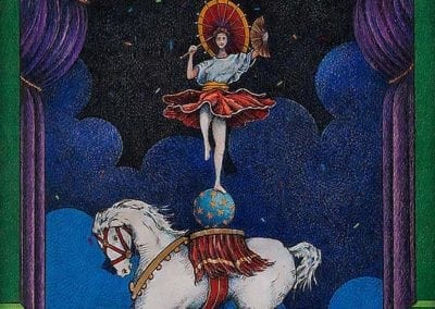 Dancer on Elephant - color pencil on wood drawing
