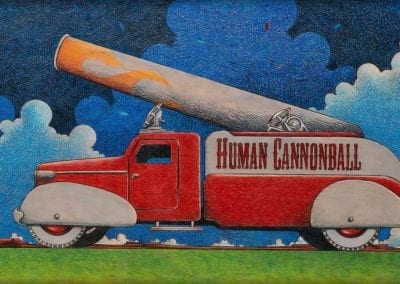 Human Cannonball Truck - color pencil on wood drawing