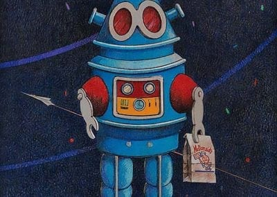 Robot with Happy Meal - color pencil on wood drawing