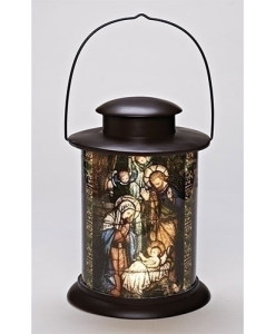 Nativity LED Holy Family Cylinder Stain Glass Look