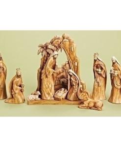 Carved Nativity w/Scene Back Drop Faux Wood Grain Look