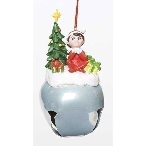 5.5in Elf On The Shelf with Tree Jingle Bell Christmas Ornament