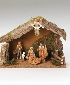 "5 Piece Figure Set with Italian Stable Fontanini® 5"" Nativity Collection"