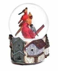 Musical Birds on Birdhouses Glitter Dome