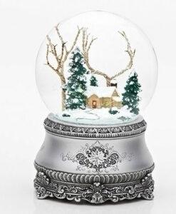 Musical Cottage Scene Glitter Dome