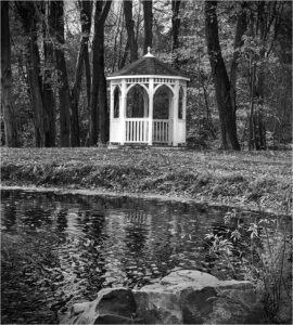 William Brown - Gazebo At The Pond - B&W-A