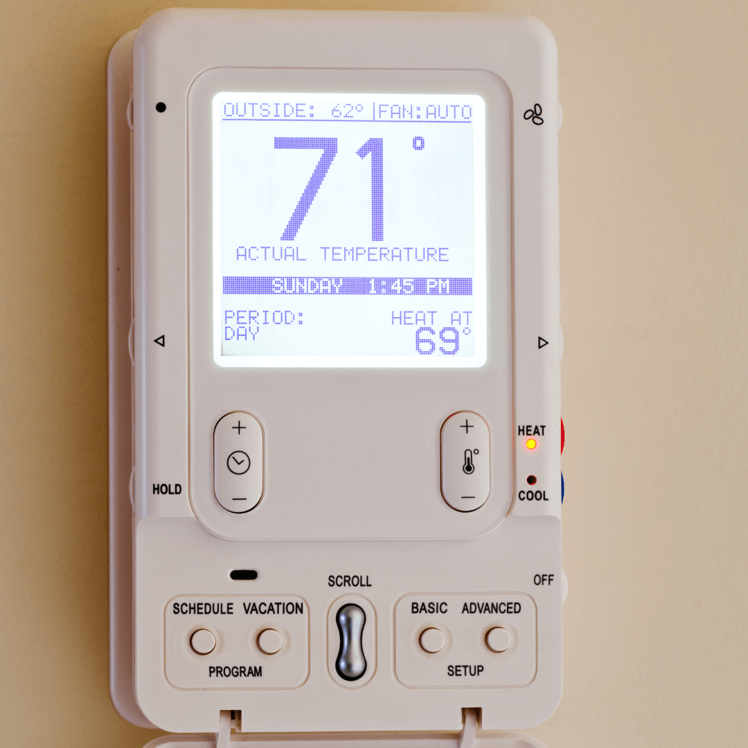 thermostat showing temperature.