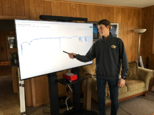 Young man in front of a large monitor. He is pointing to a a dip on a large graph