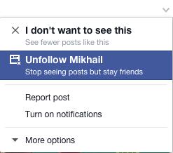Facebook unfollow dropdown menu
