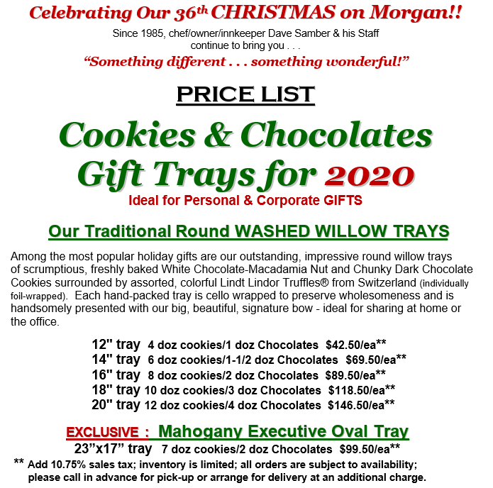 Cookie Tray Price List 2020