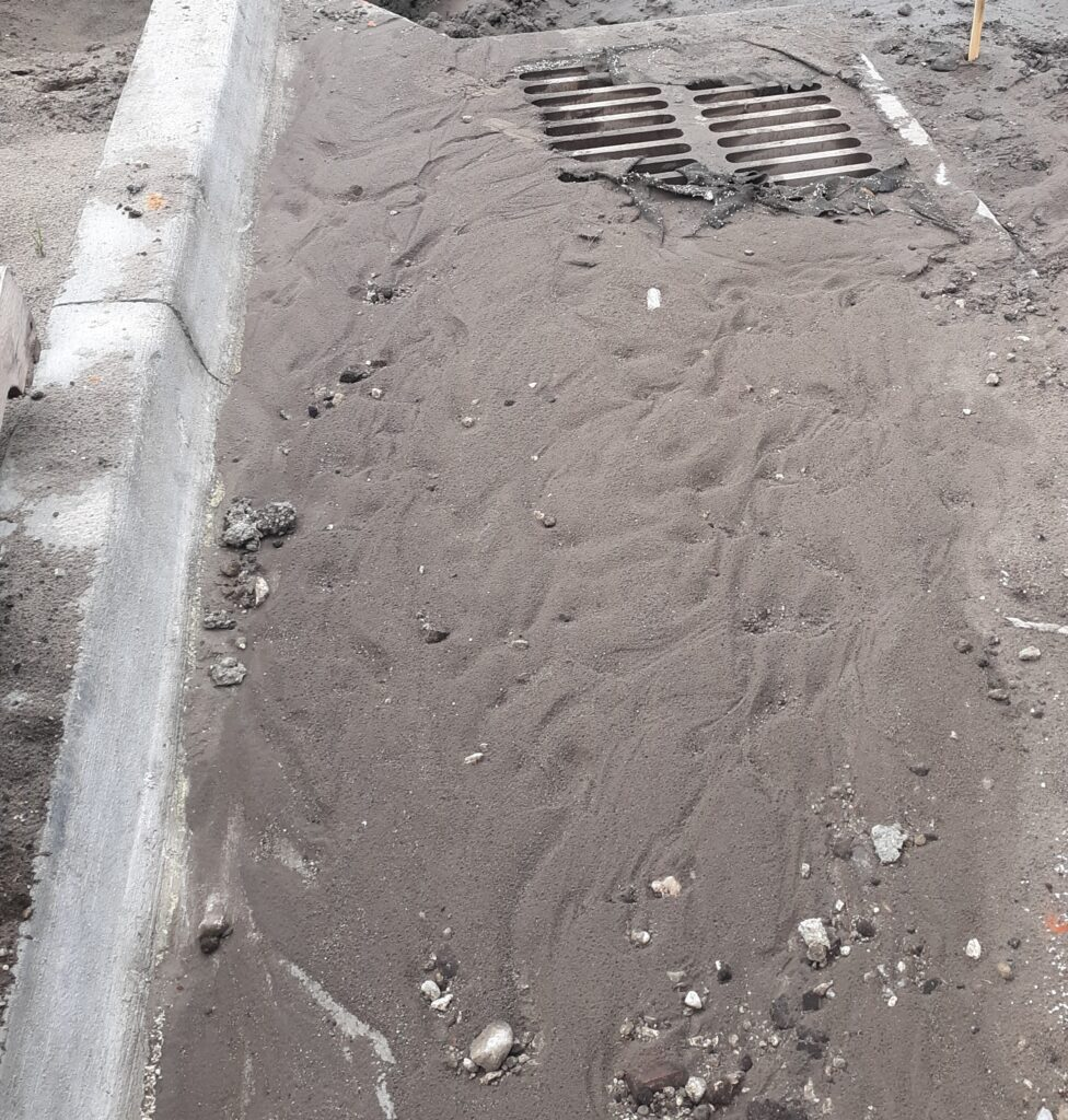 SE Interior perimeter drop grate inlt BMP clogged with sediment and non functioning