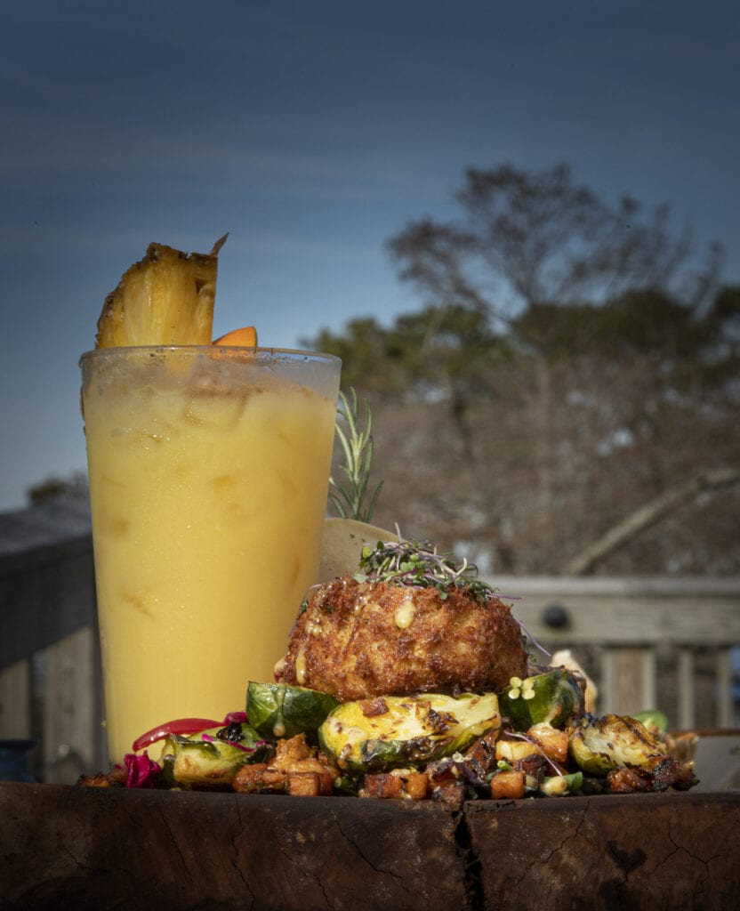 Delicious crab cake over grilled vegetables, NC Coast Bar and Grill