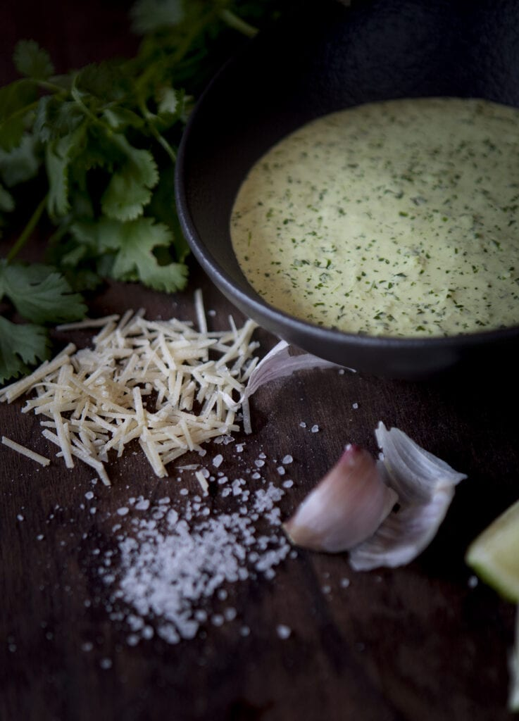 Cilantro sauce for fried green tomatoes, fresh cilantro