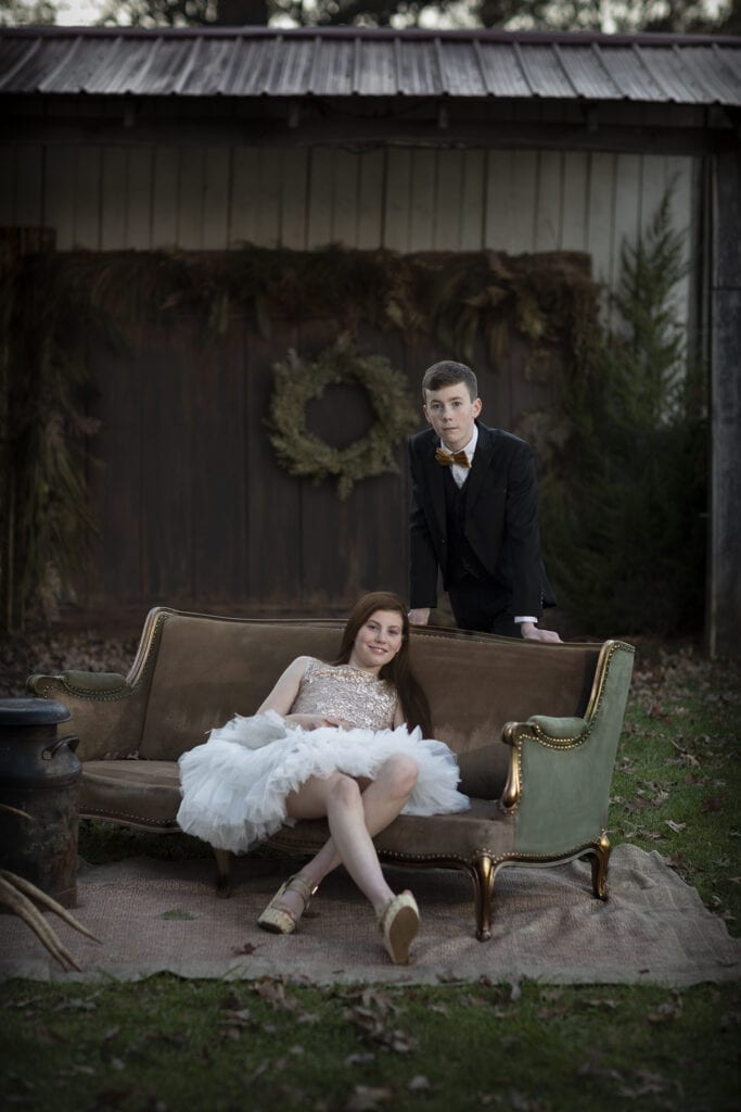 rustic elegance for christmas with black tie clothing, Outside photo session Northern Virginia