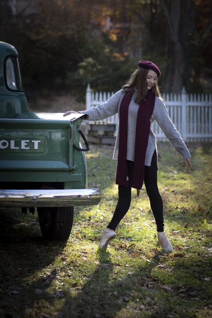Ballarina photo of girl by old truck
