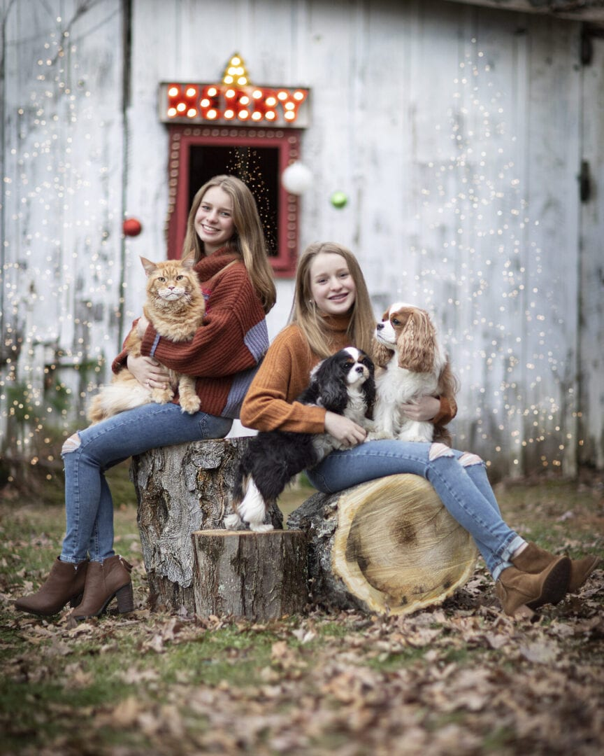 Girls with three pets mini phot session Loudoun County