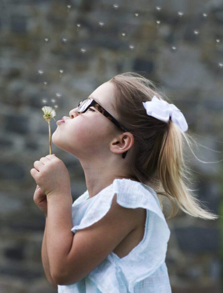 blowing dandelions in spring