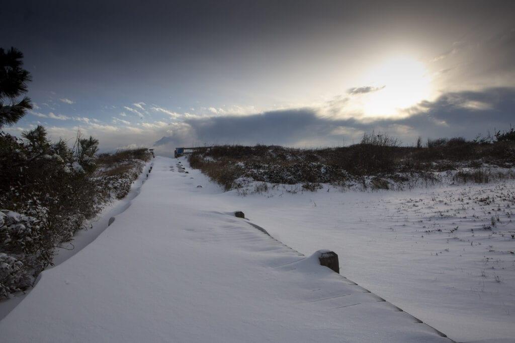 Snow covered beach walk way Duck NC