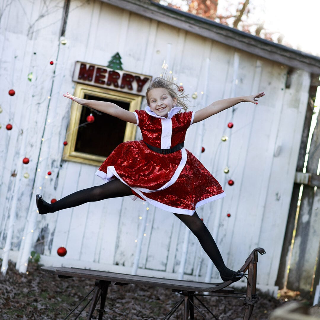 Jumping with holiday cheer
