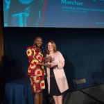 Nyamuon Nguany Machar accepting the Emerging Young Advocate Award