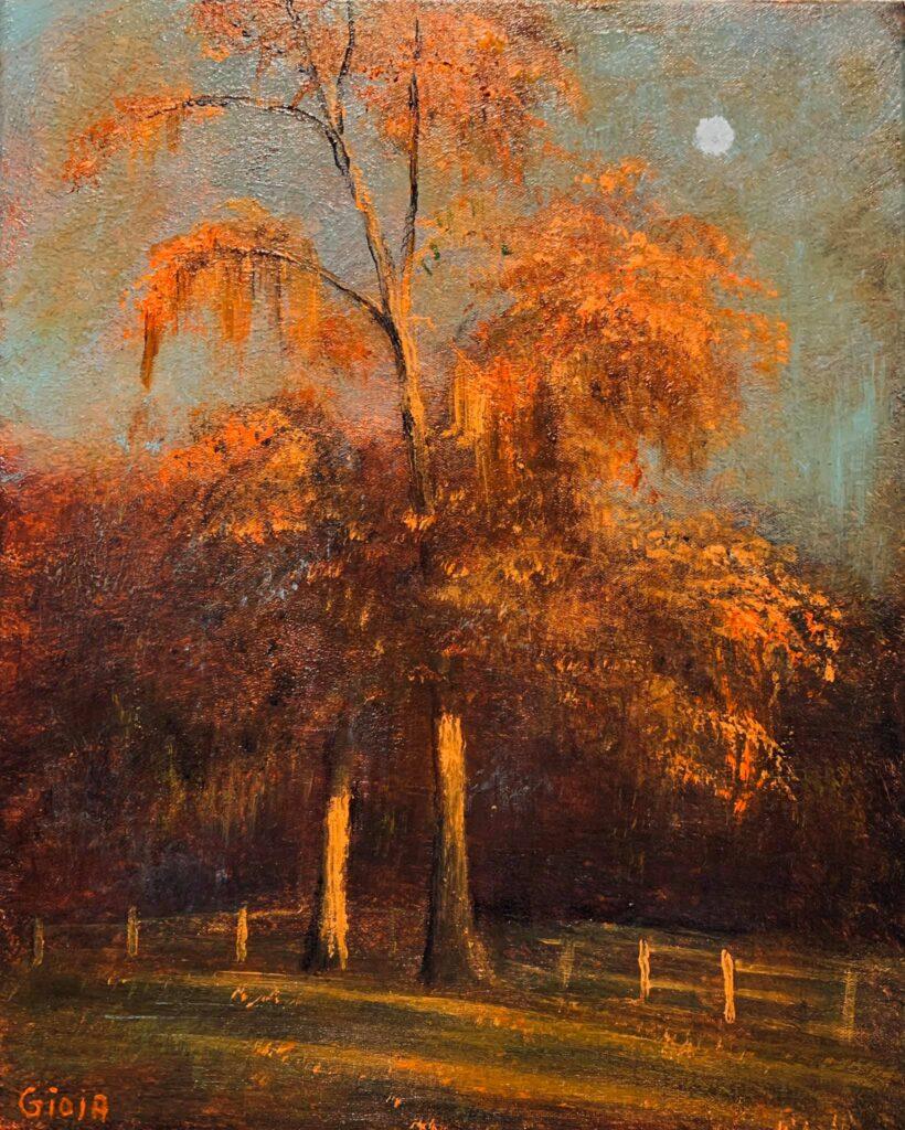 Autumn Oaks Rising Moon