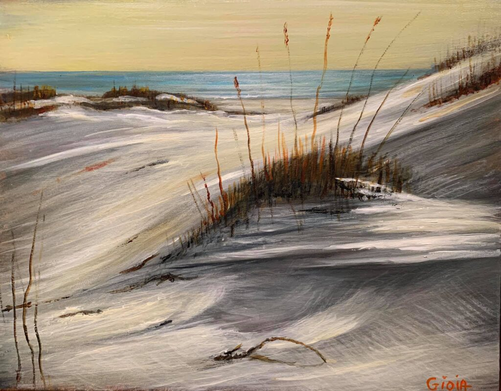painting of beach dune with blue water in background