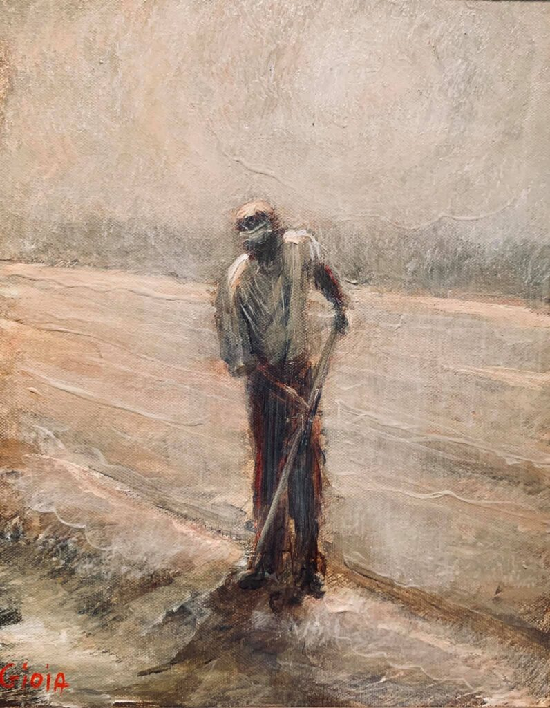 Painting of a man in a field with hoe