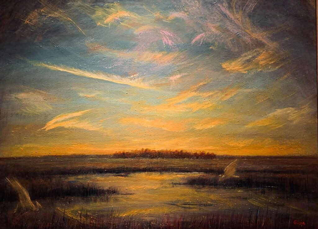 painting of beach at sunset with bird flying low