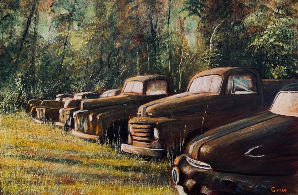 painting of line of rusted old trucks in country field