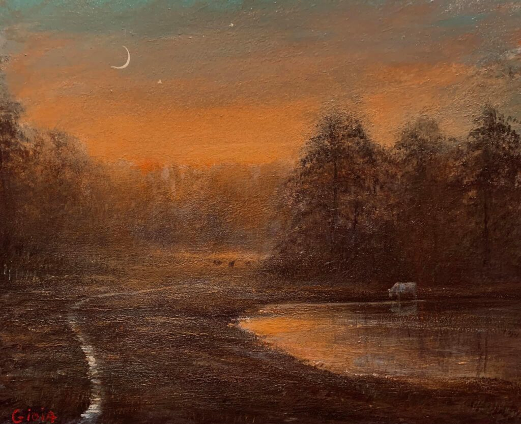 painting of a cattle pond with forest and cattle trail at sunset