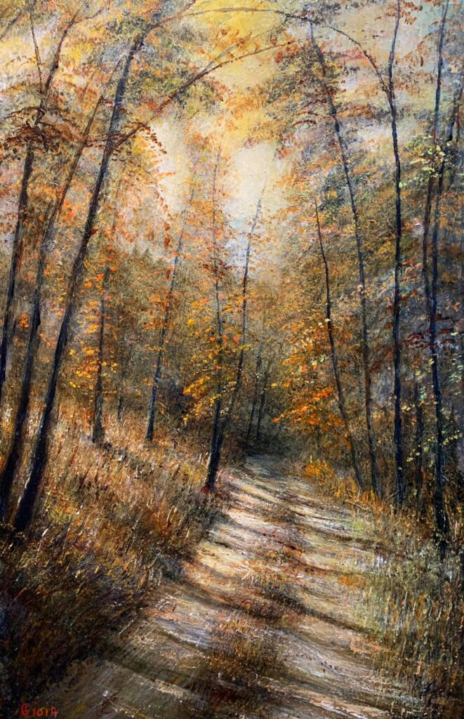 painting of a sunlit dirt road in woods during autumn