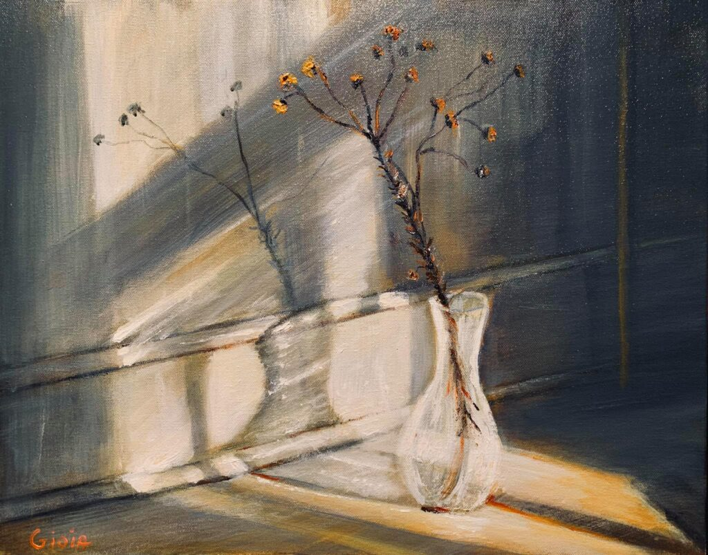 painting of a flower stem in a clear glass vase near a baseboard with light shining through