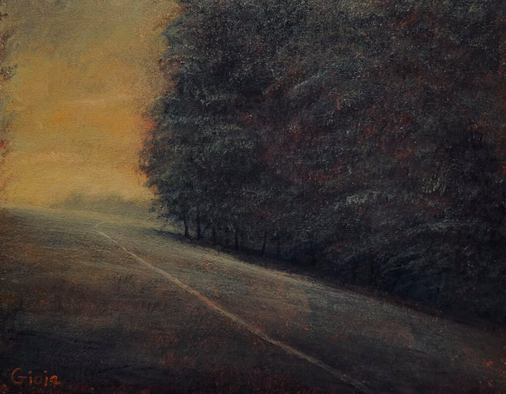 painting of a cow path next to a forest on a hill at twilight