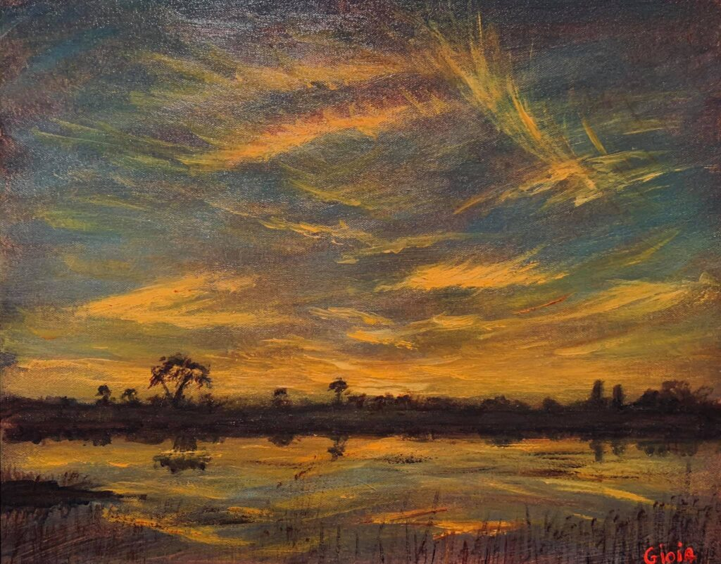painting of sunset over water