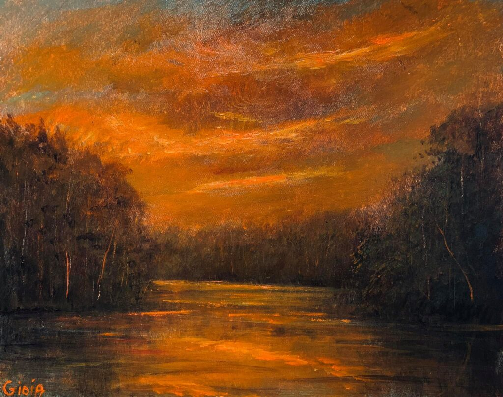 painting of river with tree-lined banks at sunset