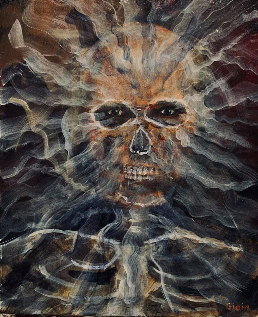 painting of skull with spirits