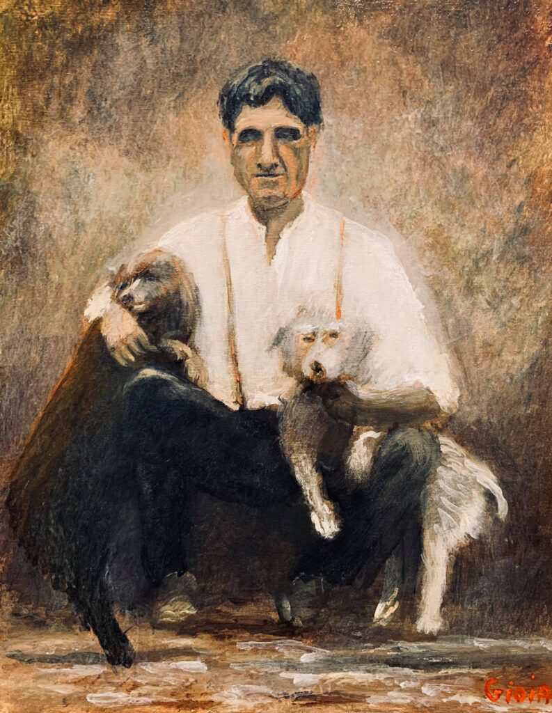 painting of man with two poodles