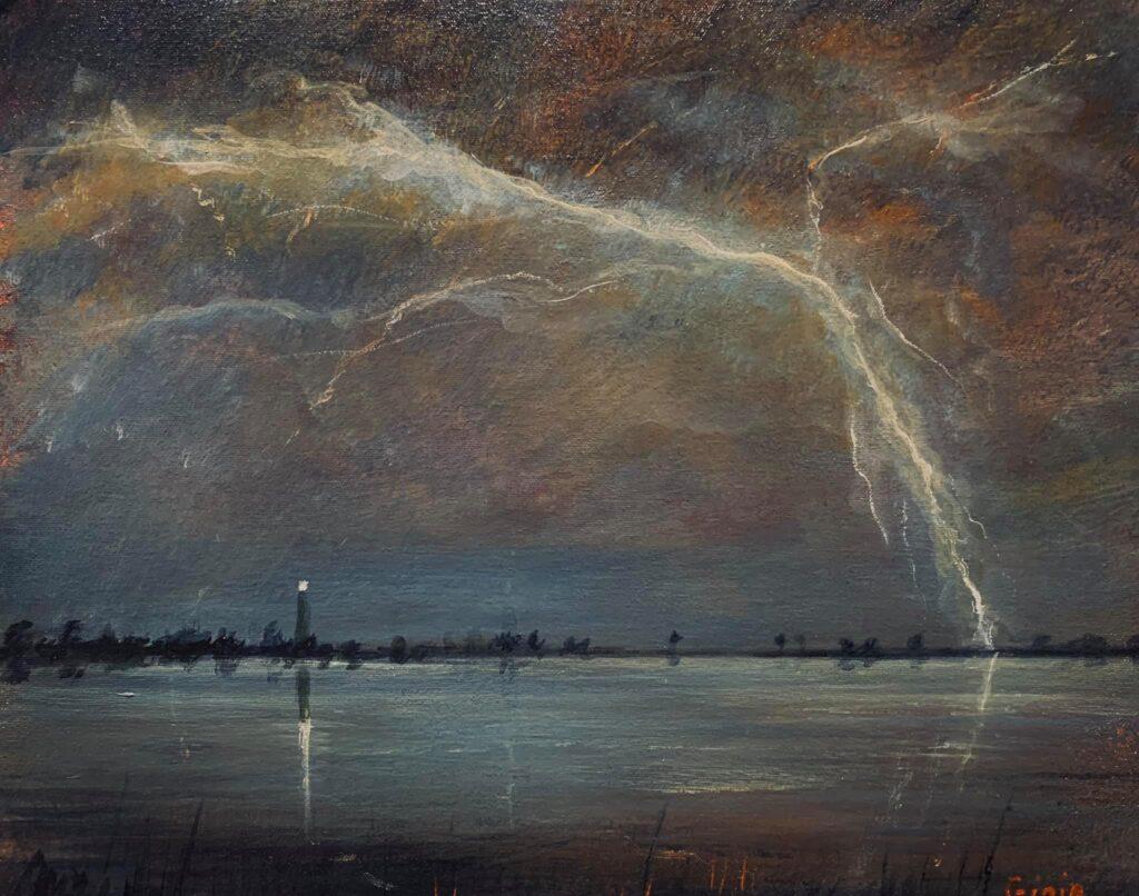 lightning striking over ocean