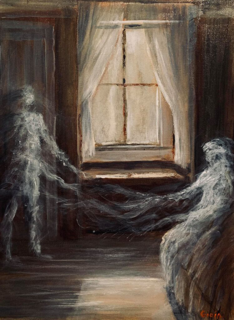 two ghosts in a room with a window