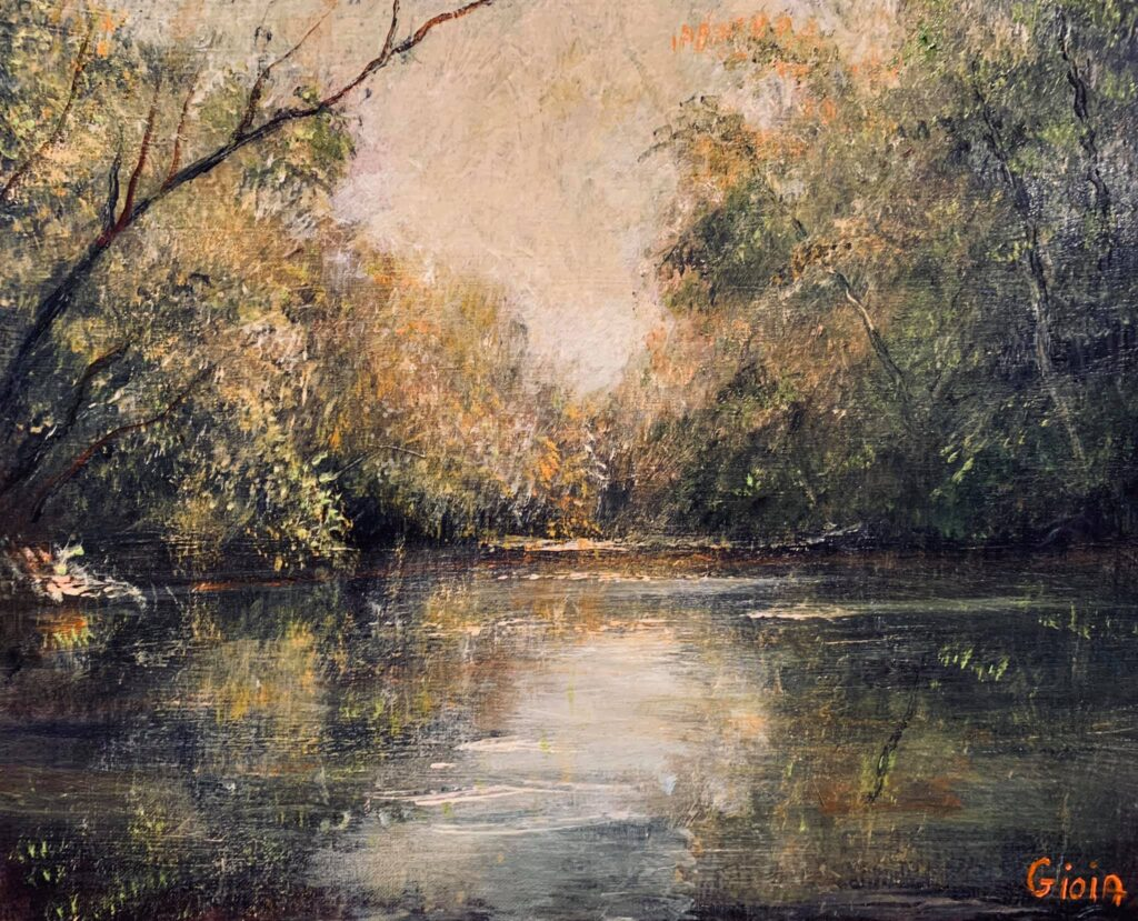 painting of river with trees