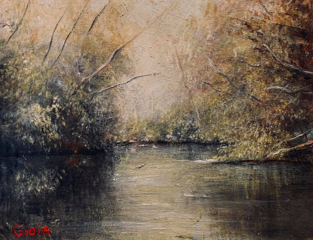 painting of river with woods